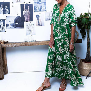 Iztzo Green Long Sleeve Floral Printed Maxi Dress