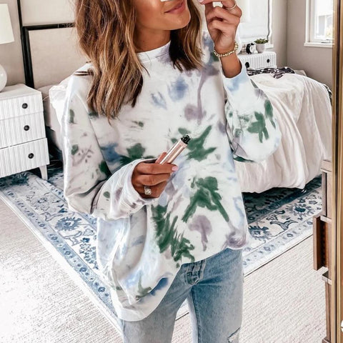 Iztzo Oversized Fit Tie Dye Round Neck Long Sleeve Top