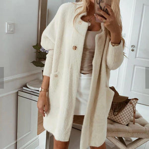 Iztzo Long Sleeve Solid Teddy Coat