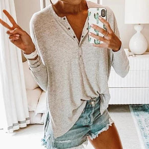 V-Neck Long Sleeve Pure Color Tee