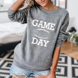 Iztzo Letter Print Round Neck Long Sleeve Sweatshirt