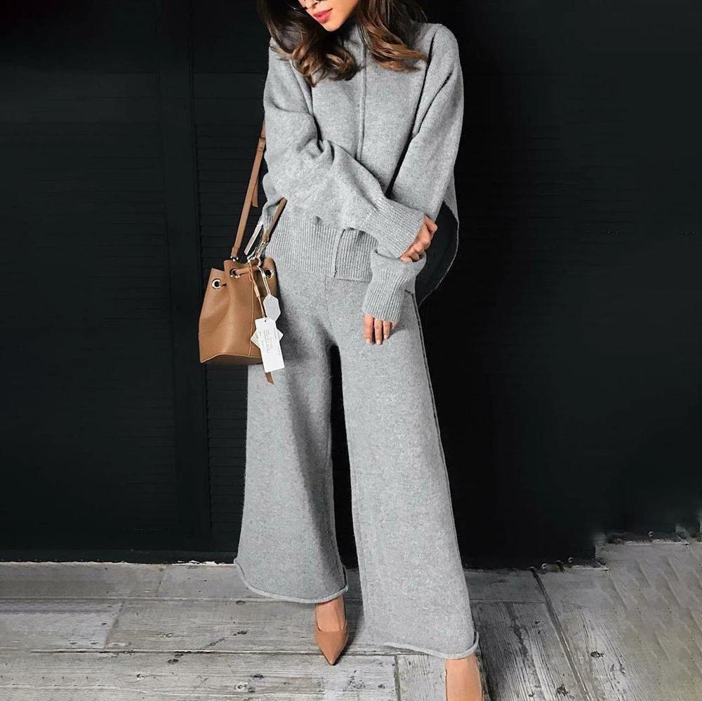 Iztzo Long Sleeve Turtle Neck Casual Two-Piece Set