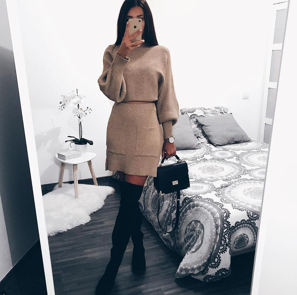 Iztzo Round Nek Balloon Sleeve Two-Piece Dress
