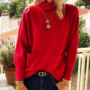 Iztzo High Neck Long Sleeve Pure Color Sweater