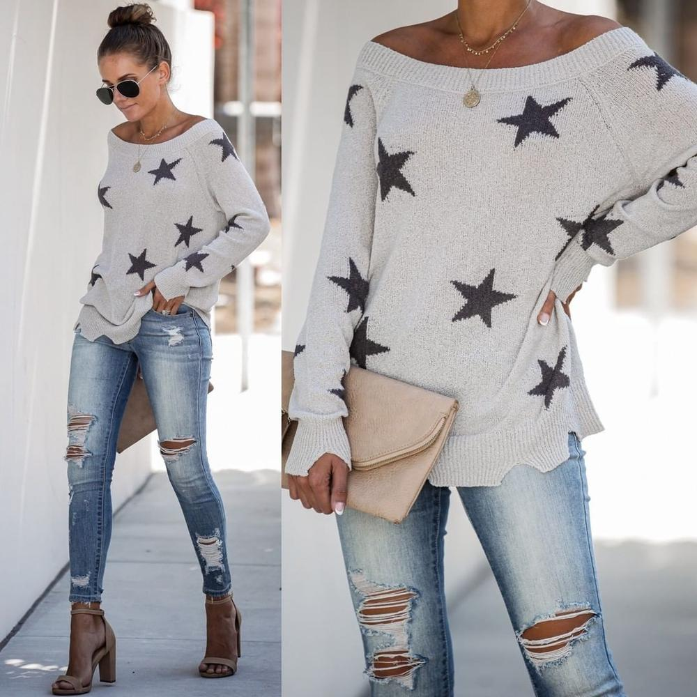 Iztzo Floral Casual Round Neck Long Sleeve Sweater