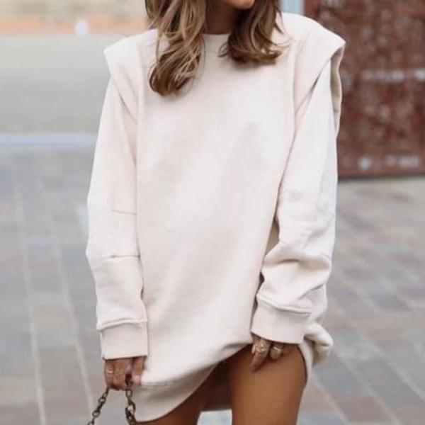 Iztzo Simple Round Neck Long Sleeve Sweatshirt