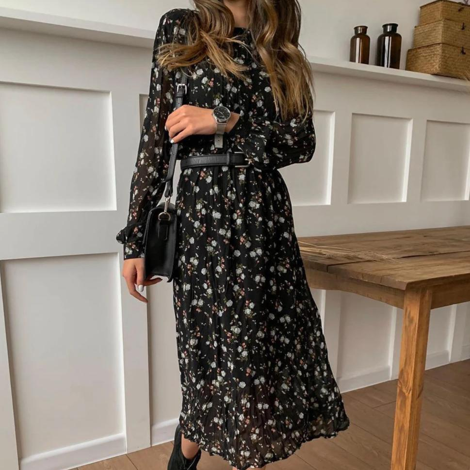 Iztzo Fashion Printed Round Neck Long Sleeve With Belt Midi Dress
