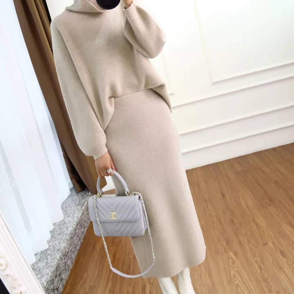 Iztzo Beige Turtle Neck Long Sleeve Two-Piece Dress