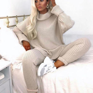 Iztzo Beige Turtle Neck Loose Sweater And Pants Two-Piece Set