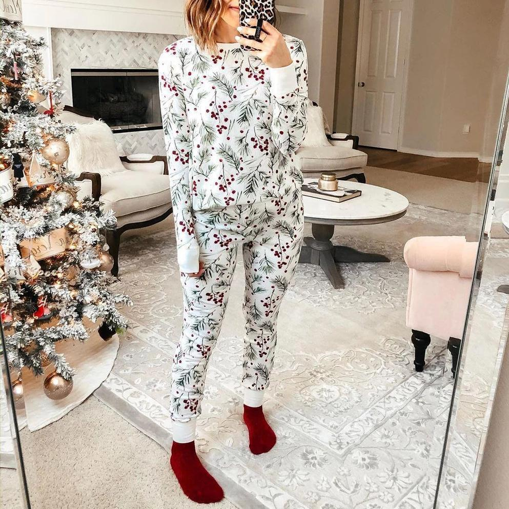 Iztzo Floral Print Warm Long Sleeve Two-Piece Sets Pajamas