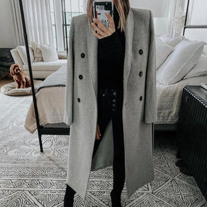Iztzo Pure Color Long Sleeve Warm Coat