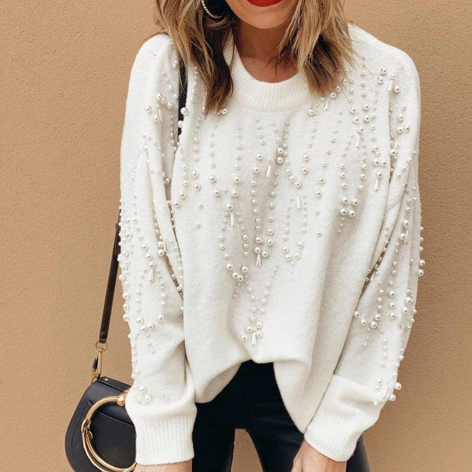 Iztzo Fashion White Round Neck Long Sleeve Beadwork Loose Sweater