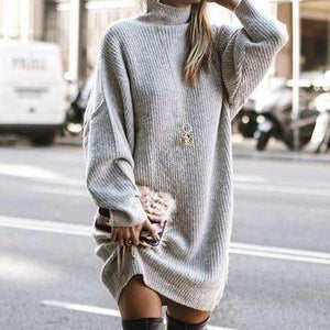 Solid Long Sleeve Basic Mini Dress