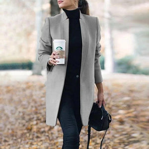 Iztzo Fashion Long Sleeve Solid Color Standing Collar Coat