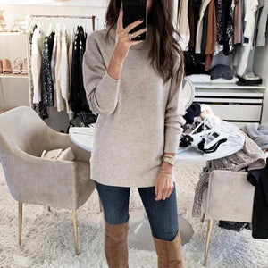 Iztzo High Neck Long Sleeve Loose Sweater