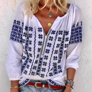 Iztzo Floral-Print Long Sleeve V-Neck Bohemia T-Shirt Tops