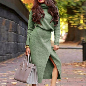 Iztzo Basic Plain Turtle Neck Casual Two-Piece Dress