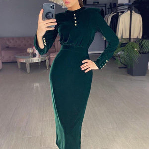 Iztzo Dark Green Buttons Long Sleeve Velvet Midi Dress