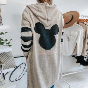 Iztzo Super Cute Mickey Side Stripe Hooded Knit Cardigan
