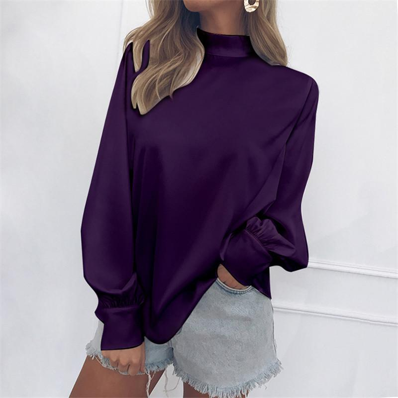 Iztzo Basic Mock Neck Balloon Sleeve Blouse
