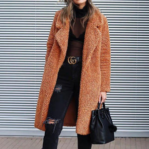 Iztzo Vintage V-Neck Long Sleeve Suede Pain Wool Coat