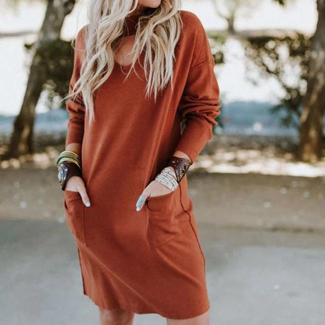 Iztzo Loose V-Neck Solid Color Mini Dress