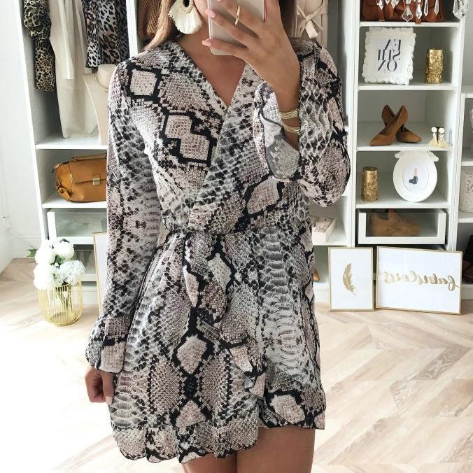 Snakeskin Print V-Neck Long Sleeve Mini Dress
