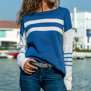 Iztzo Casual Long Sleeve Striped Round Neck Tee
