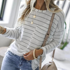 Iztzo Striped Long Sleeve Pocket Loose Tee