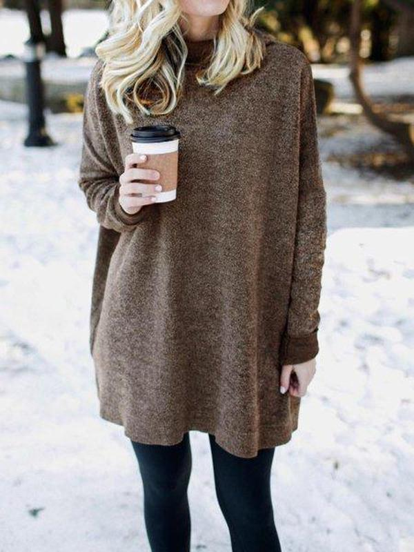 Iztzo Casual Solid Color Long Sleeve Sweater