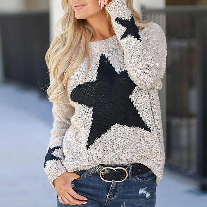 Star Color Block Long Sleeve Cute Sweater