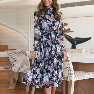 Iztzo Casual High Neck Floral Printed Long Sleeve Midi Dress