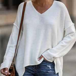 Iztzo Chic Pure White V-Neck Long Sleeve Sweater