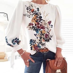 Iztzo Casual Floral Round Neck Long Sleeve Top