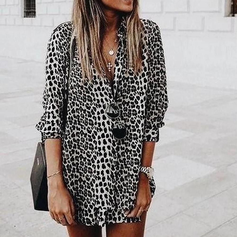 Iztzo Fashion Leopard V-Neck Long Sleeve Shirt Mini Dress