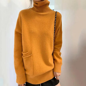 Iztzo Fashion Pure Color High Neck Loose Sweater