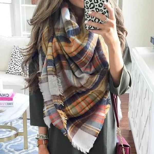Iztzo Plaid Multicolor Blanket Scarf
