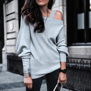 Iztzo Casual Solid Color Single Shoulder Long Sleeve Sweater