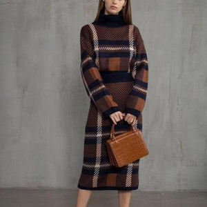 Iztzo Fashion Elegant Chic Plaid Two-Piece Dress