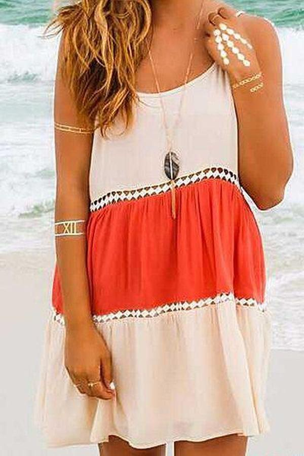 Iztzo Color-Block Sleeveless Round Neck Casual Spaghettie Dress