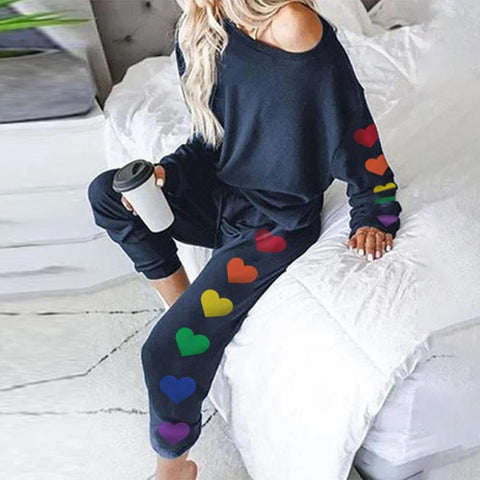 Iztzo Full of Pride Heart Print Loungewear Set
