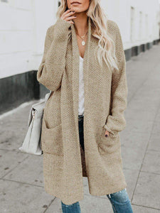 Plain Long Sleeve Shift Loose Knitted Cardigan