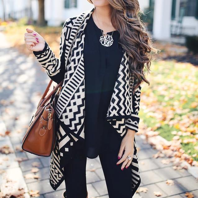 Iztzo Casual Fashion Loose Print Irregular Hem Long Sleeve Cardigan