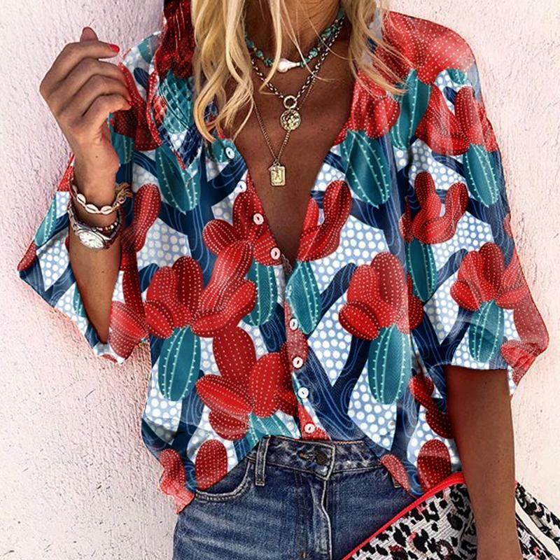 Iztzo Casual A Lapel Bracelet Sleeve Printed Color Loose Blouse