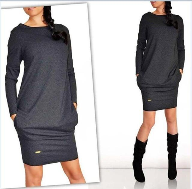 Iztzo Grey Long Sleeve Shift Mini Dress