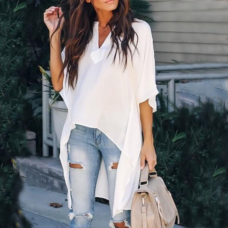 Iztzo Chic Elegant Irregular V-Neck Blouse