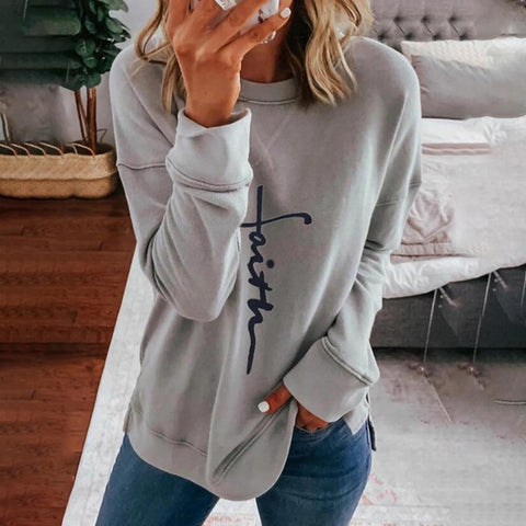 Iztzo Simple Letter Printed Round Neck Long Sleeve Tee