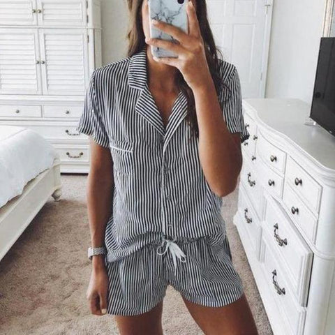 Iztzo Striped Lapel Shorts Lounge Set