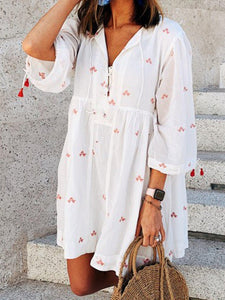 Iztzo V-Neck White Dress Holiday Abstract Dress