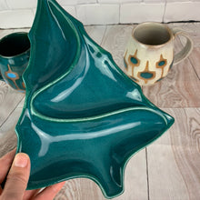 Load image into Gallery viewer, vintage style christmas tree shaped candy dish in Teal glaze, shown with coordinating  midcentury style mugs.